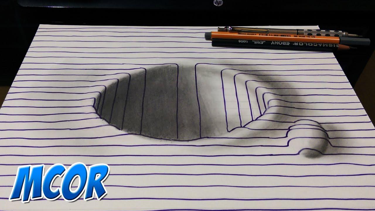 Como Dibujar Un Corazón En 3d Con Lineas: Como Dibujar Hoyo En 3D Facil Con Lineas