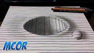 Como Dibujar Hoyo en 3D Facil con Lineas