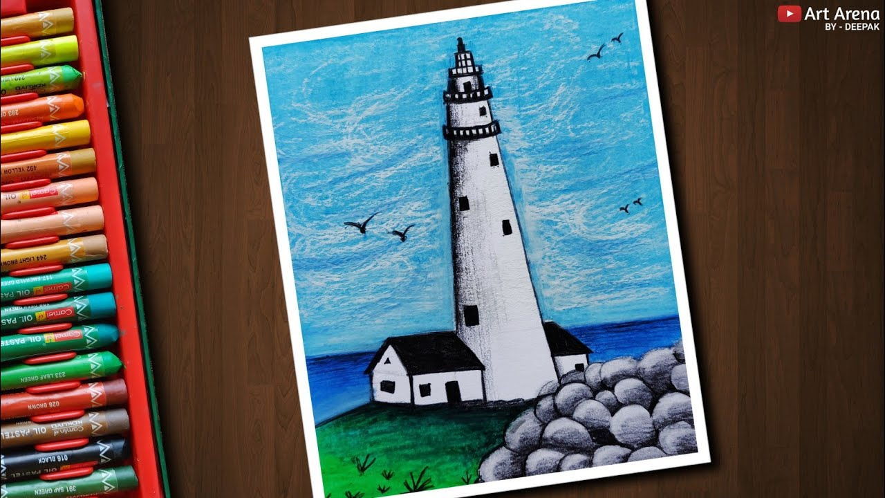 Lighthouse Scenery Drawing With Oil Pastels Step By Step Youtube