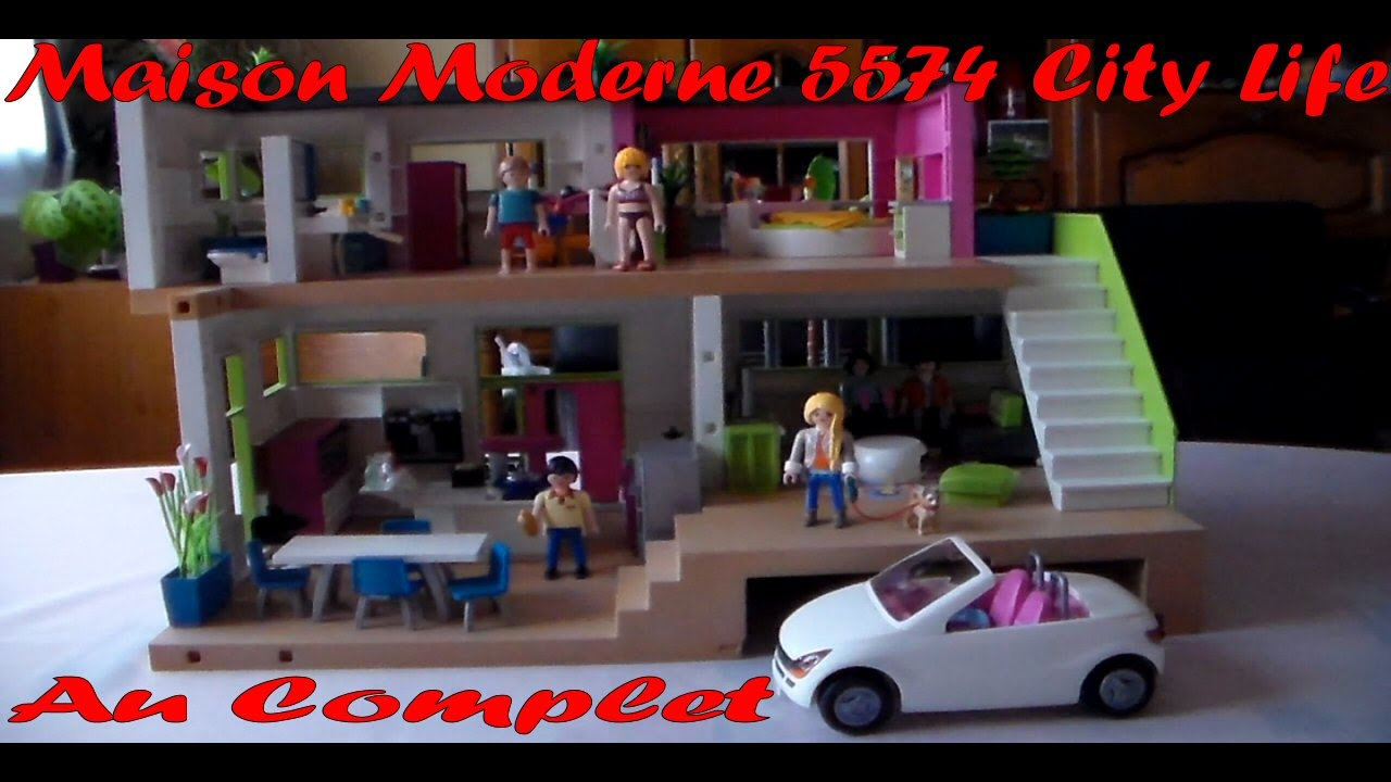 Playmobil ma maison moderne city life 5574 compl te youtube for Salle bain playmobil