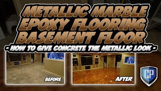 Metallic Marble Epoxy Flooring Basement Floor - How To Give Concrete The Metallic Look