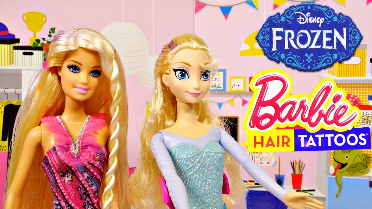 Barbie Hair Tattoos On Disney Frozen Elsa Doll Makeover Episodes By Cars Toy Club