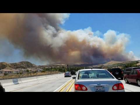 Fire on the Southbound 14 freeway.