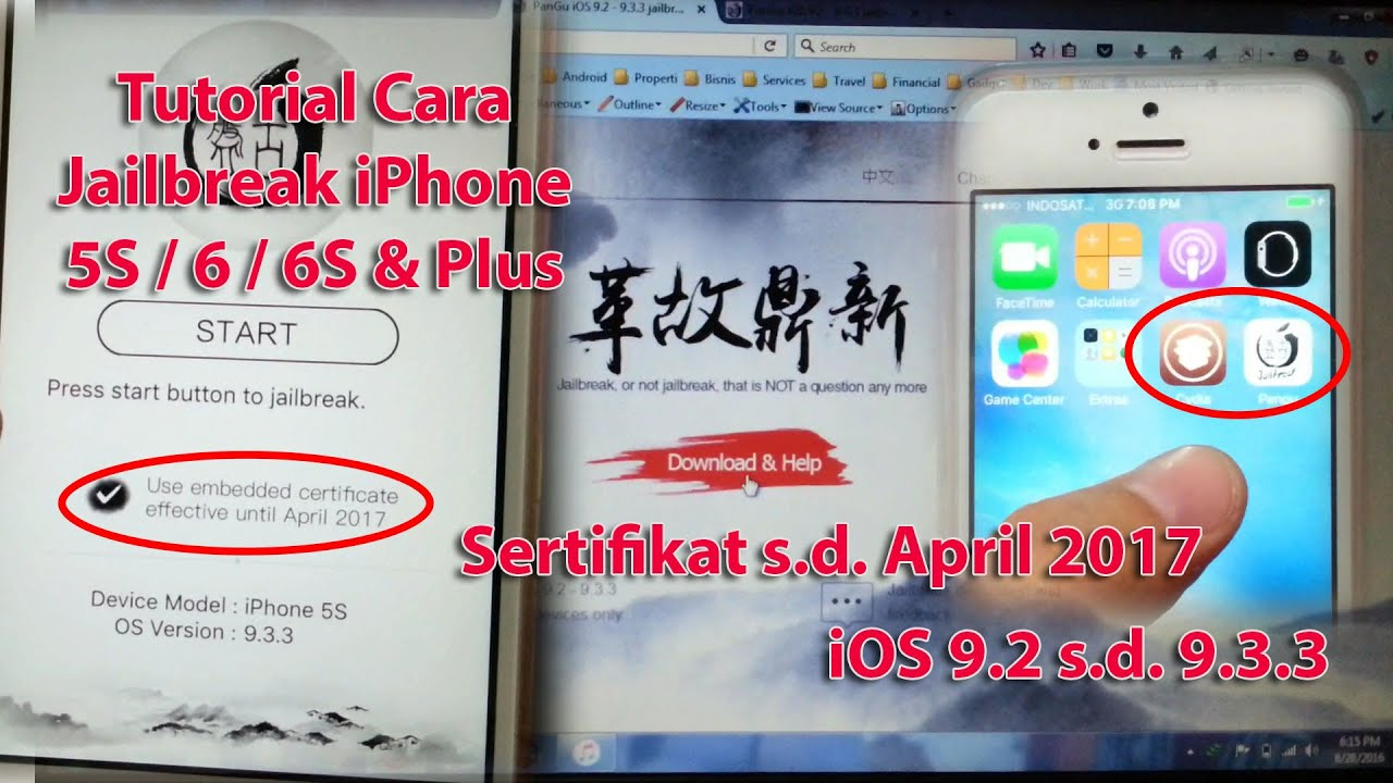 Cara Jailbreak iPhone 5S iOS 9.3.3 - YouTube