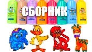 Витражи для детей Сборник. Раскраска для детей. Учим цвета, животных и формы