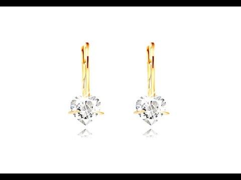 213a047fd Šperky - Náušnice zo 14K žltého zlata - trblietavé zirkónové srdiečko čírej  farby, 4 mm