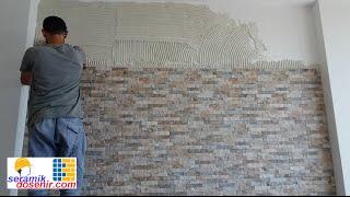 TV Arkası doğal taş nasıl döşenir ustasından