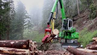 SENNEBOGEN 718 E-Series - Harvesting with Woody H61- Lau Forstservice/Austria