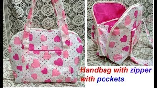 HANDMADE HANDBAG WITH ZIPPER , POCKETS . CUTTING AND STITCHING , SHOULDER BAG