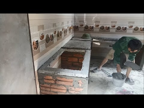How To Build And Install Table Kitchen Made Of Brick And Cem