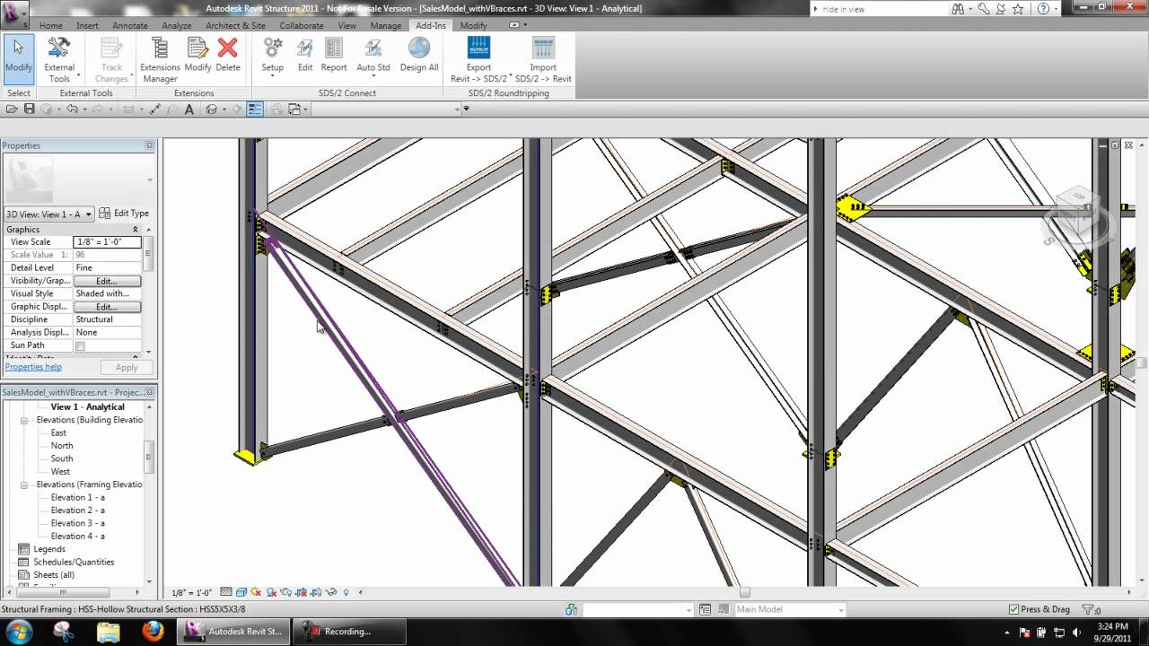 Vertical Braces In Revit Structure With Sds 2 Connect
