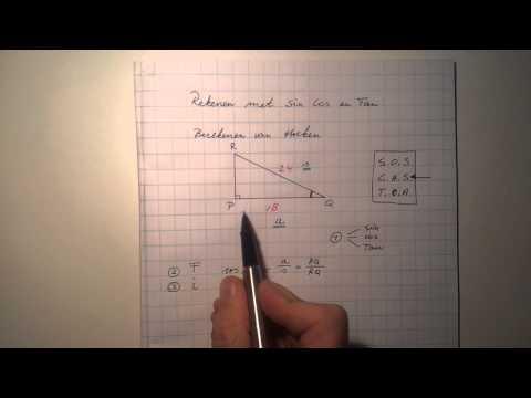 Werken met Sin Cos en Tan: berekenen van een hoek.