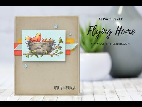 Stampin' Up! Flying Home coloured with Blends