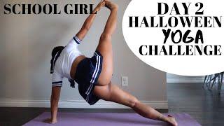YOGA IN SCHOOL GIRL COSTUME   DAY 2 HALLOWEEN YOGA CHALLENGE