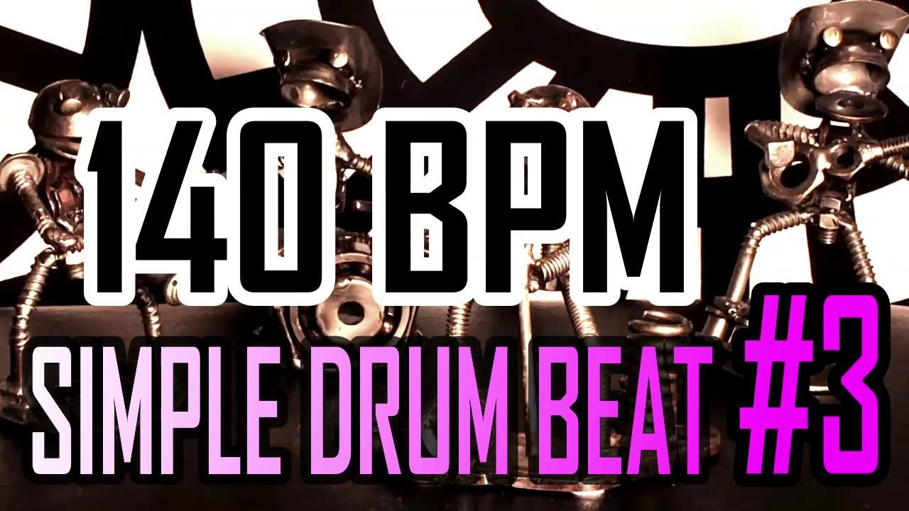 140 BPM - Simple Beat #3 - 4/4 Straight Rock Drum Track - Metronome - Drum  beat