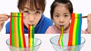 젤리가 더 먹고 싶어요 서은이의 빨대 젤리 만들기 대형 레고 젤리 만들기 뽀로로 자장면 놀이 Making Giant Lego and Straw Jelly Seoeun Story