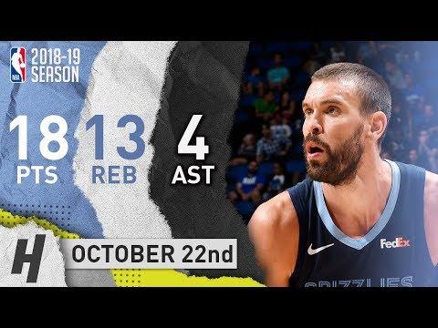 Marc Gasol Full Highlights Grizzlies vs Jazz 2018.10.22 - 18 Pts, 13 Reb, 4 Ast!