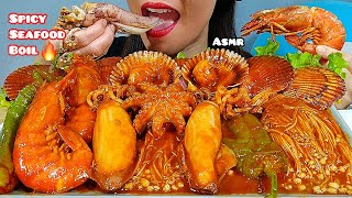 EATING SPICY SEAFOOD BOIL, ARGENTINE RED SHRIMP, SQUID, OCTOPUS & SCALLOPS ASMR 먹방 Real Sounds