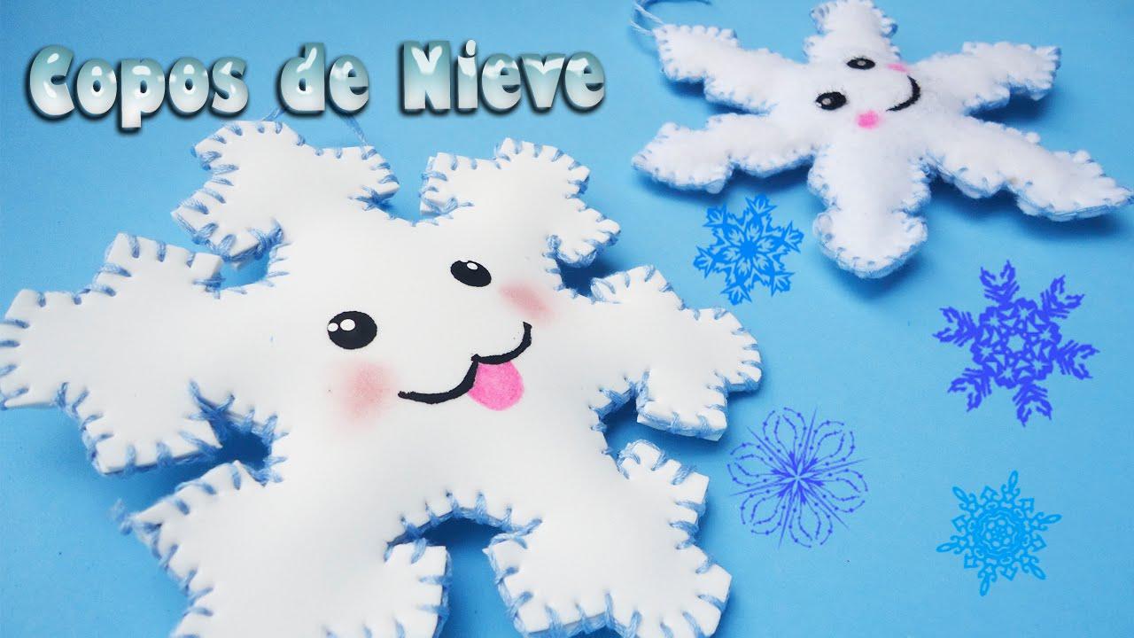 Copos De Nieve Kawaii Hechos De Fieltro Y Goma Eva O Foamy Youtube