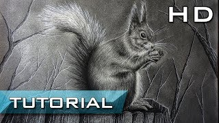 How to Draw a Realistic Red Squirrel Step by Step with pencil - Easy Tutorial for Kids