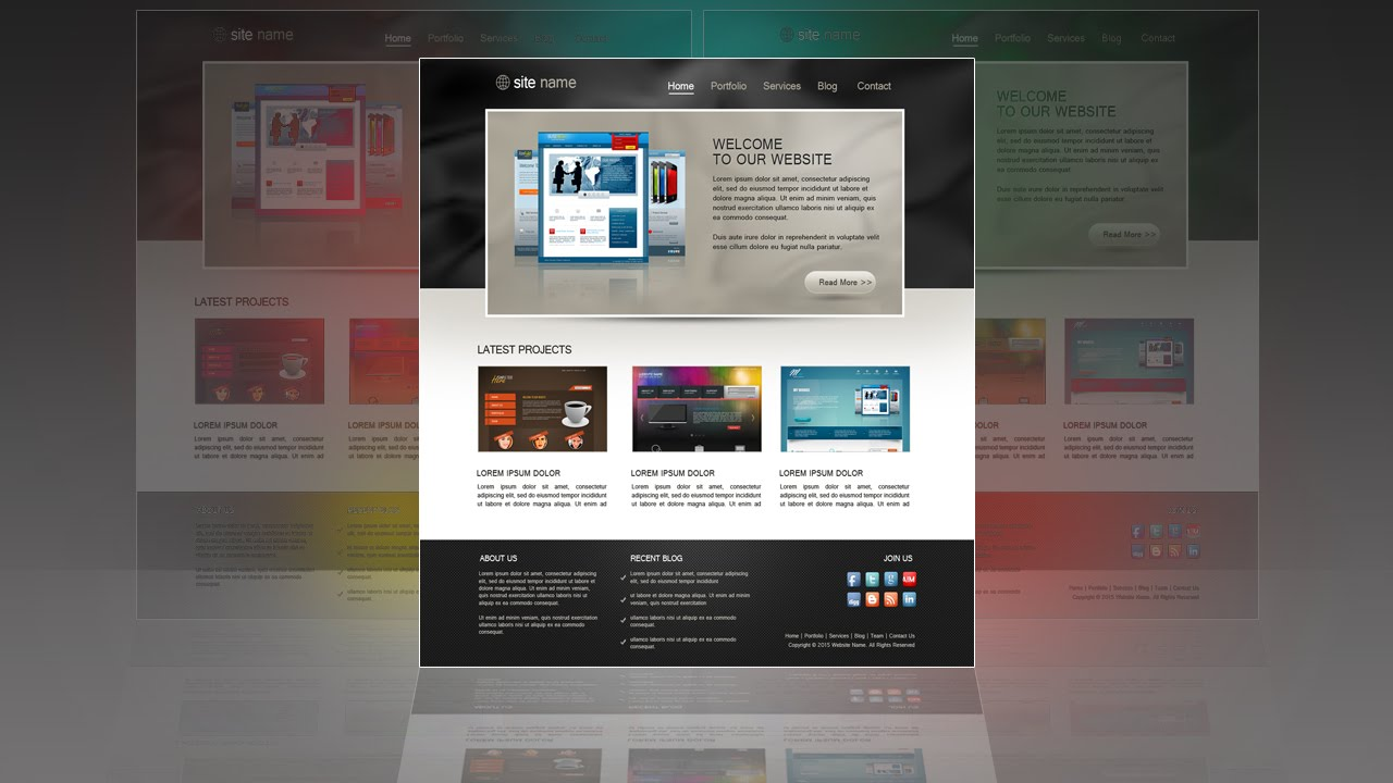 Photoshop Tutorial Web Design Template Portfolio - YouTube