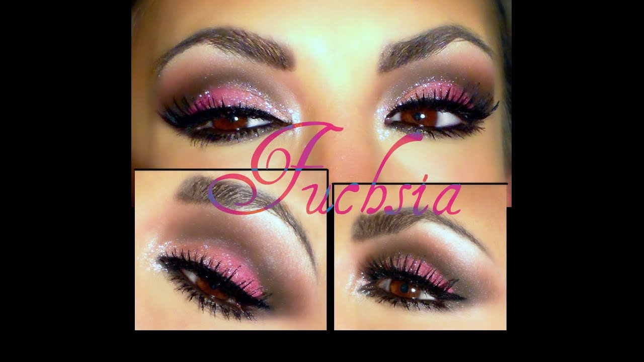 Maquillaje de ojos de noche para vestido rosa