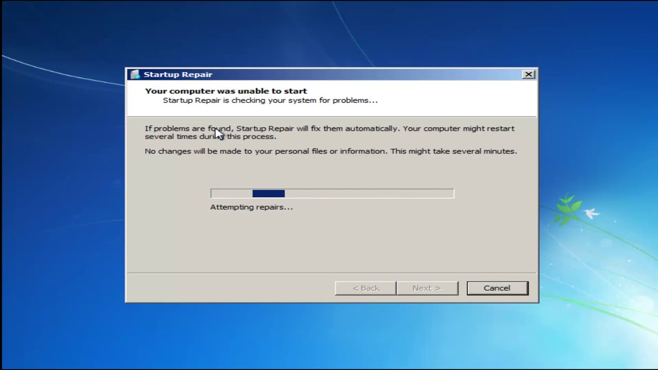 windows startup repair cannot repair