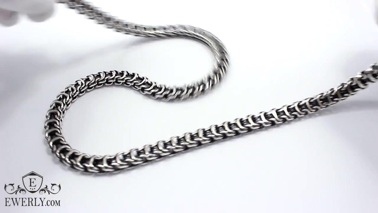 Цепочка из серебра Кортье (Фигаро) 120 грамм. Массивная мужская .