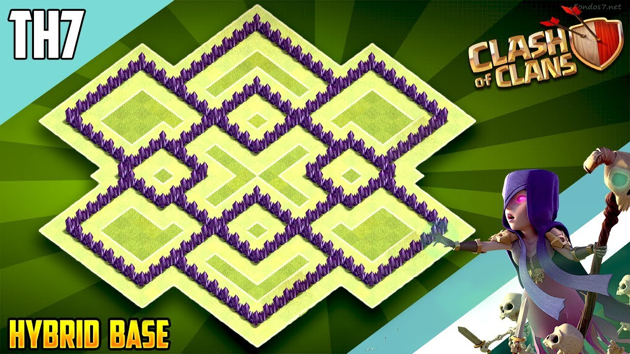 New Best Th7 Hybrid Trophy Defense Base 2018 Town Hall 7 Hybrid Base Design Clash Of Clans Youtube