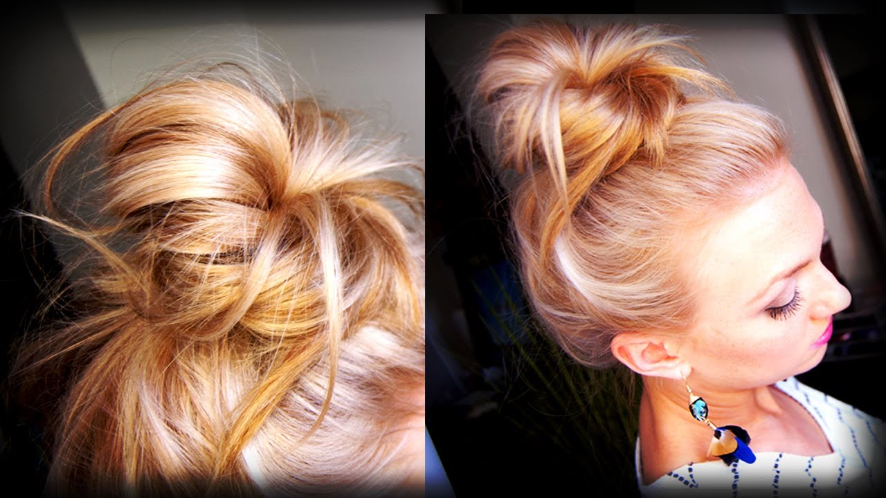 Hair How To Messy Topknot Bun Youtube