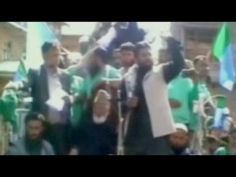 Pakistani flag waved at Syed Ali Shah Geelani's rally in Kashmir