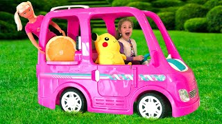 Nadya ride on Barbie Car to camping