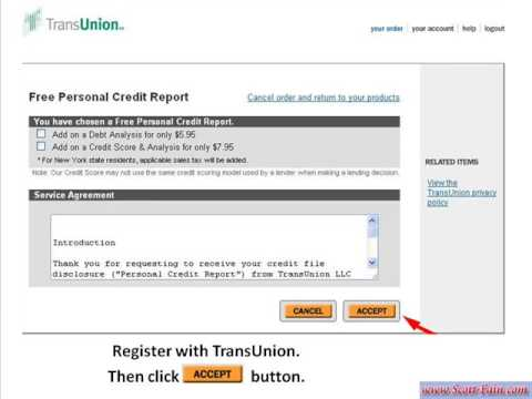 How to get your FREE Credit Report online - TRANSUNION