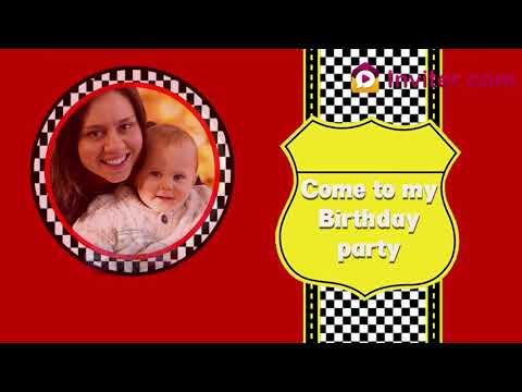 Car Theme Birthday Party Invitation Video 2019 | Theme Video Invitations | Inviter.com