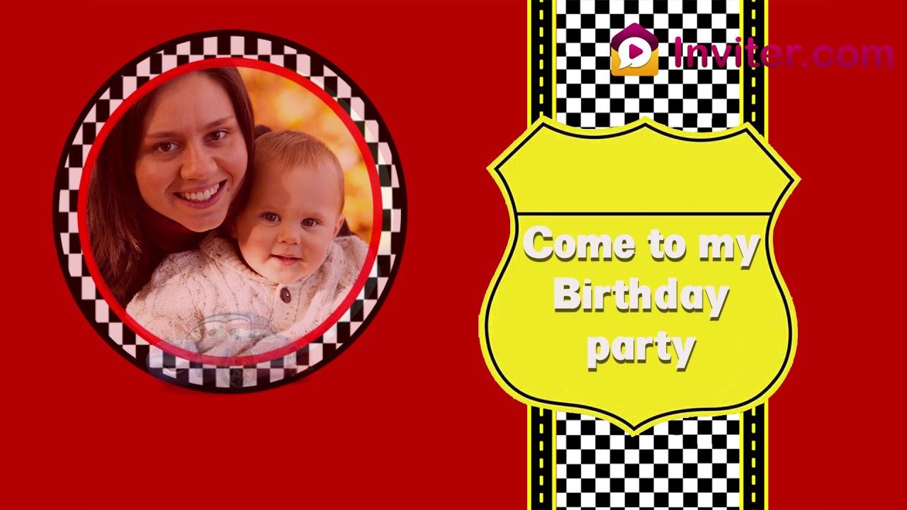 Car Theme Birthday Party Invitation Video 2019 Theme Video Invitations Inviter Com