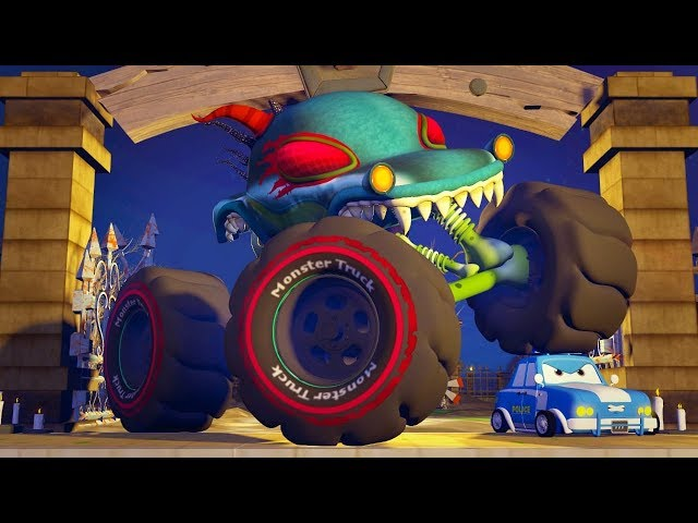 Road Rangers Vs Haunted House Monster Truck Cartoons   Car Videos For Babies   Kids Channel