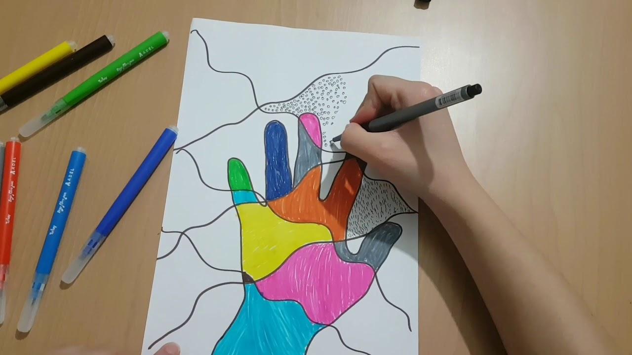 Uzaktan eğitim görsel sanatlar dersi /çizgi ve doku çalışması