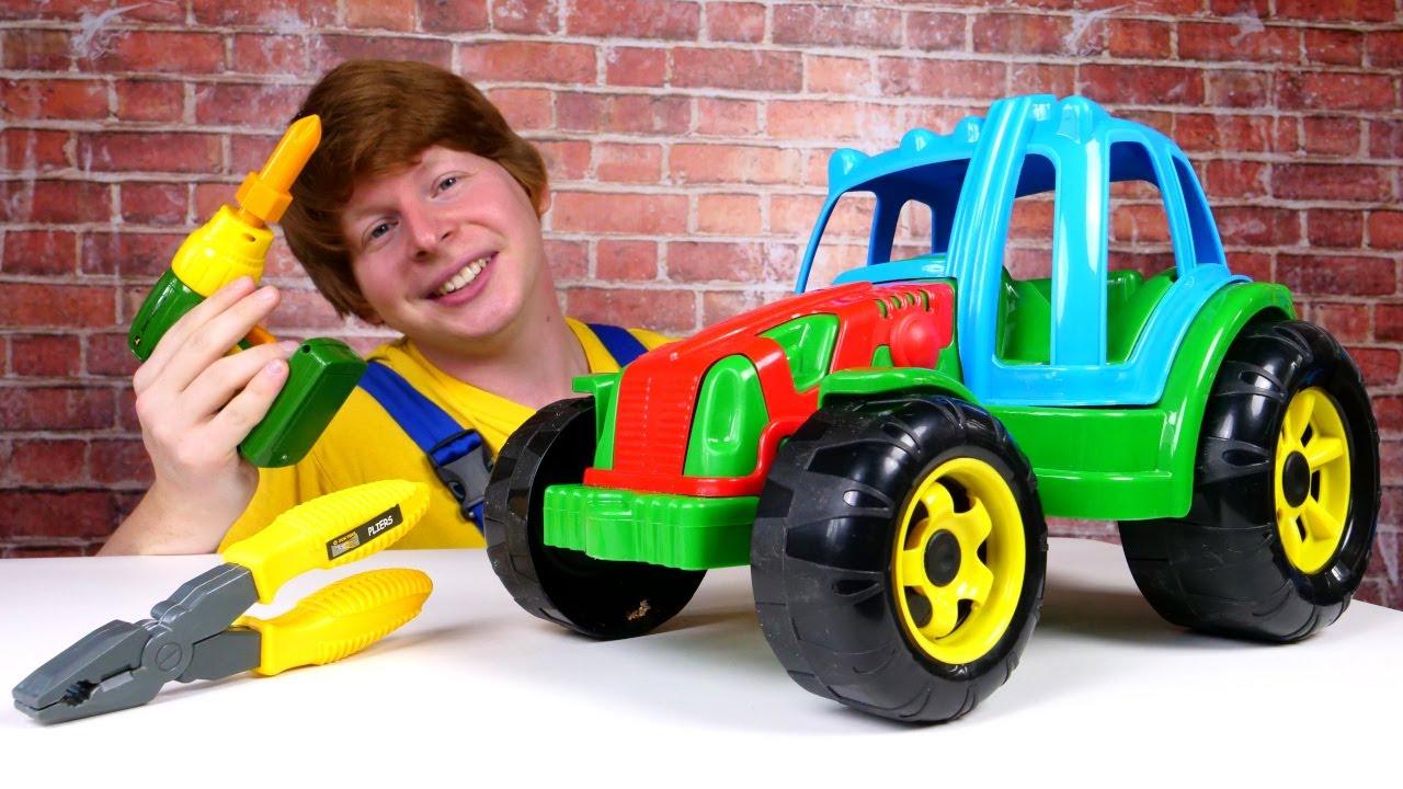 Машинки для мальчиков: утрактора заклинило руль! Чиним машинки. Видео для мальчиков: Ой, сломалось!