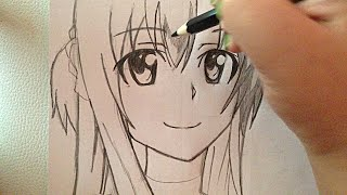 How to draw Asuna Yuuki from SAO anime step by step tutorial :D