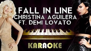 Christina Aguilera - Fall in Line (feat. Demi Lovato) | HIGHER Key Piano Karaoke Instrumental Lyrics