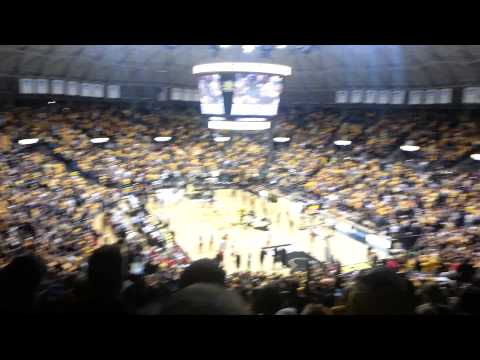 NCAA final four logo in koch arena now!! proud of our #shockers in wichita state basketball team