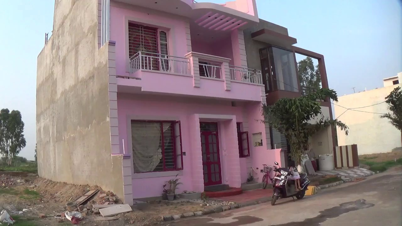 South Facing Ground Floor Elevation : Why south facing house front elevation with pink colour