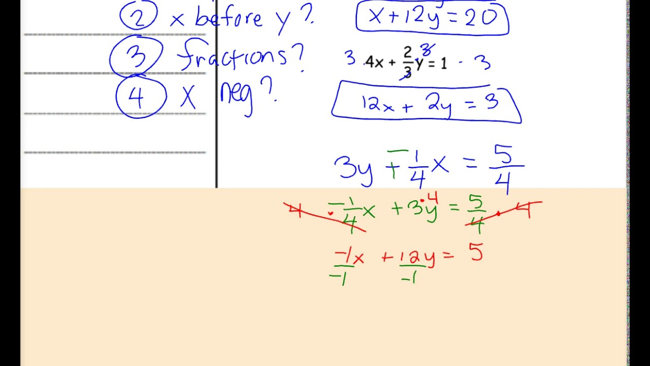 5 5b writing in proper standard form integer coefficients 5 5b writing in proper standard form integer coefficients horizontal verical lines and word problem falaconquin