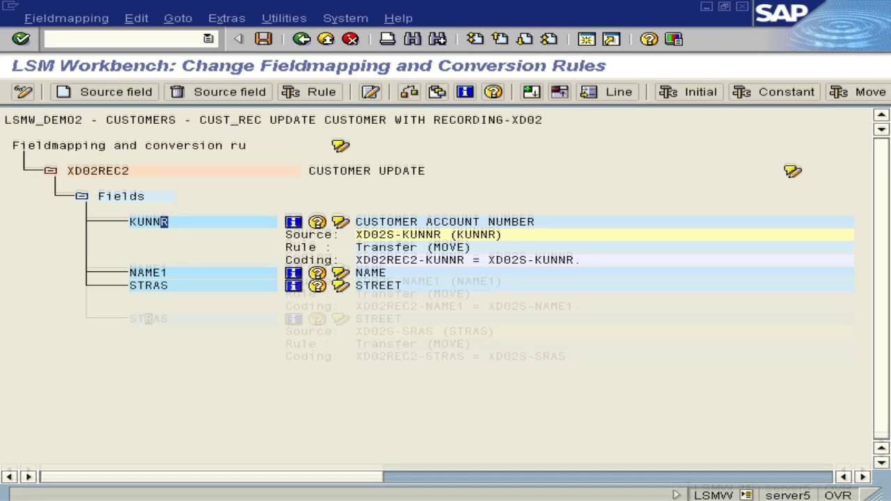 Ru/customer/account - Lsmw Customer Master Update