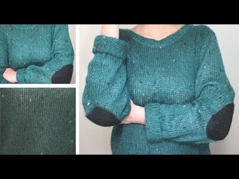 DIY Speckled Sweater with Elbow Pads - YouTube