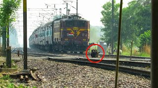 Lucky escape by crazy buffalo in front of speeding Okha Gorakhpur express