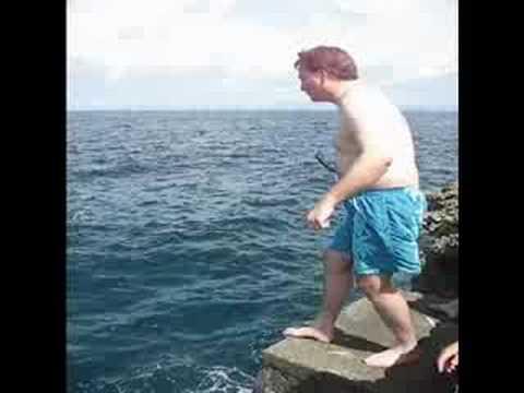 Madang Snorkeling Brian Jumps Into Ocean