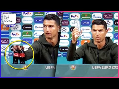 Cristiano Ronaldo's amazing reaction to seeing Coca-Cola bottles at a press conference | Oh My