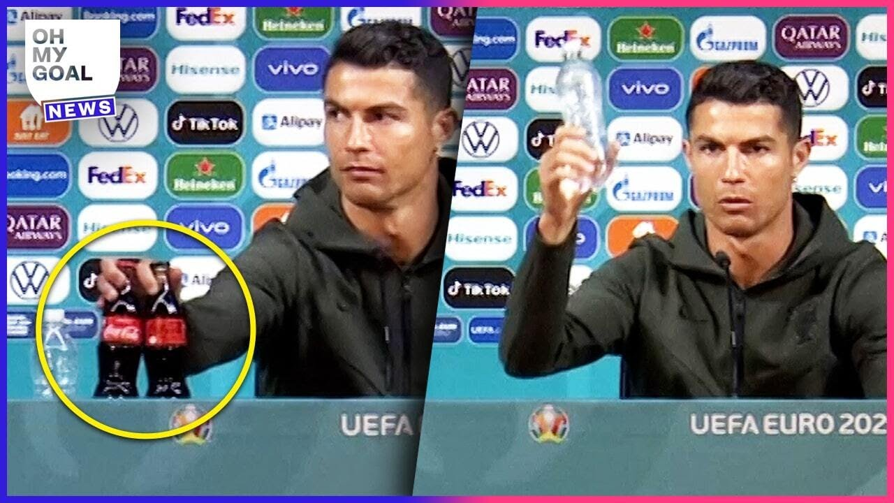 Cristiano Ronaldo's amazing reaction to seeing Coca-Cola bottles at a press conference | Oh My Goal
