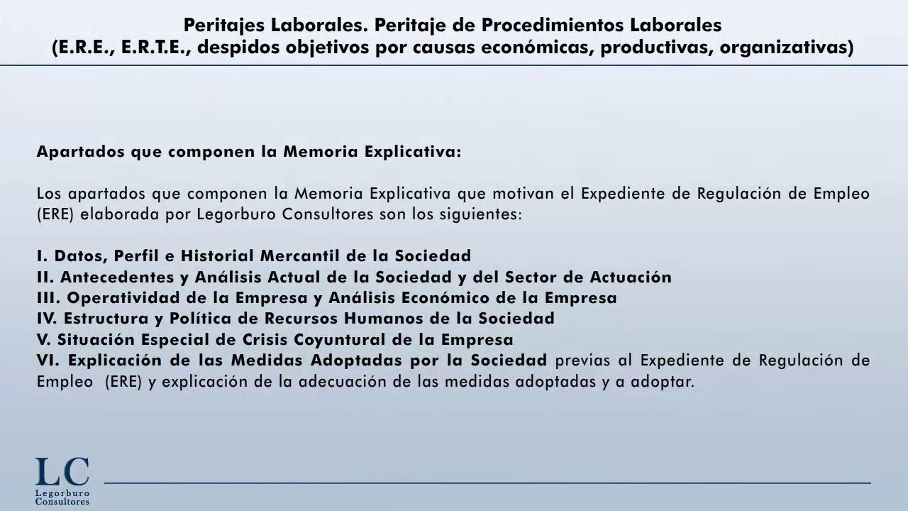 Peritaje de Procedimientos Laborales (E.R.E., E.R.T.E., despidos ...